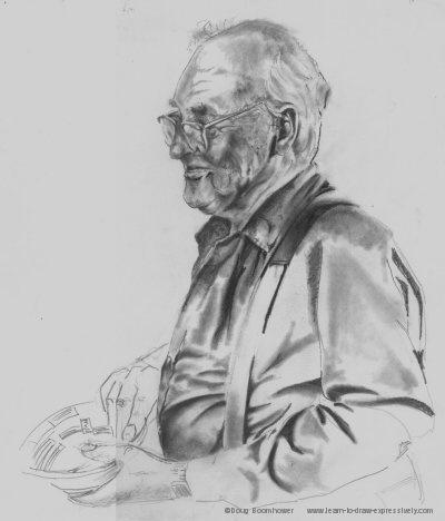 Pencil shading, drawing of Ike Cruise