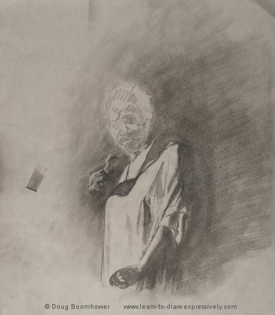 Light and dark - drawing of Esther Philips