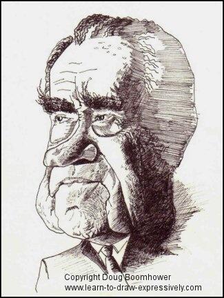 Learn to draw caricatures - Richard NIxon