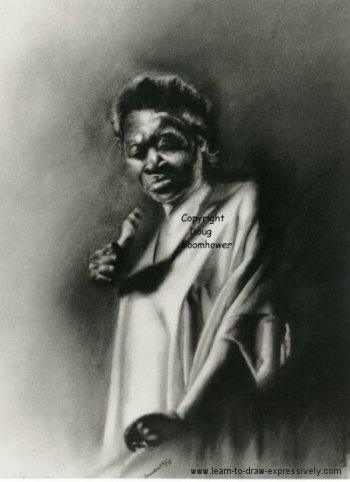 Light and dark drawing of Esther Philips