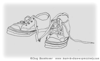 Line drawing of running shoes