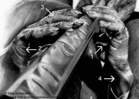 How to draw hands in detail - Sidney Bechet 4
