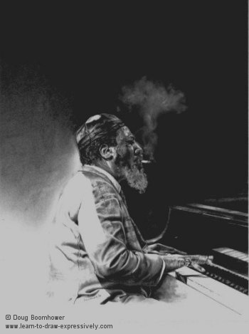 Light and dark of Thelonious Monk, drawn in 1991