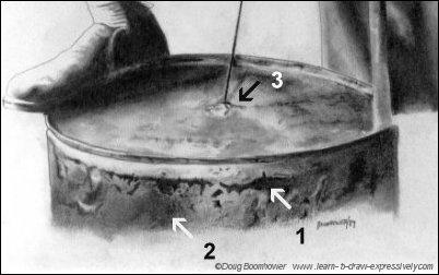 Drawing metal texture of a barrel