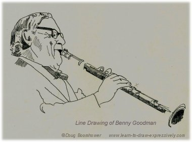 Line drawing of Benny Goodman