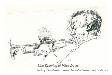 Line drawing of Miles Davis