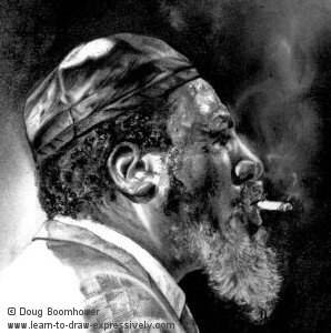 Light and dark of Thelonious Monk's face